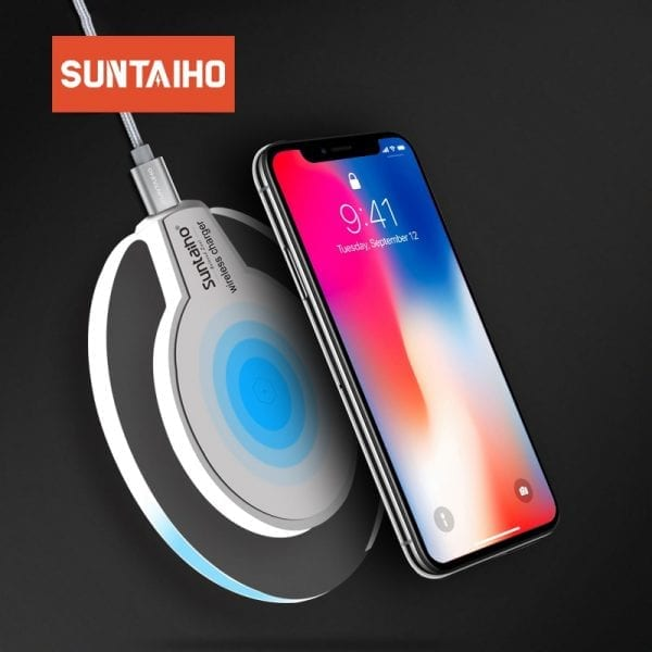 Qi Draadloze Oplader voor Samsung Galaxy S9 S8 Plus Suntaiho Mode Charging Dock Cradle Charger voor iphone XS MAX XR 8 Plus telefoon